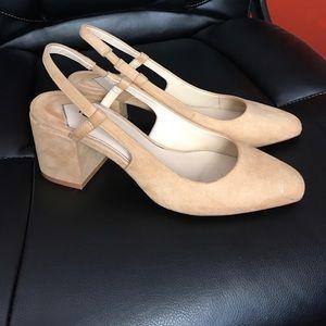 NWOB Chanel-like Zara Basic sling back block heel