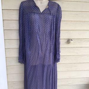 Adrianna Papell blue silk tunic?dress?nightie?