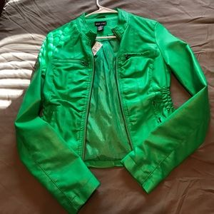 Green leather jacket from wet seal size small