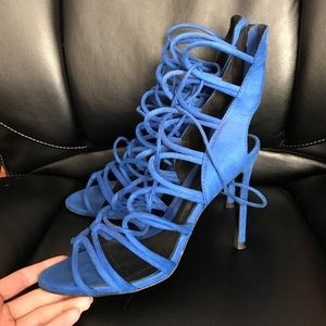 ZARA velour sexy strappy cage heels cobalt blue