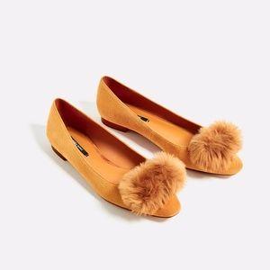 NWT Zara Leather Pompom Flats