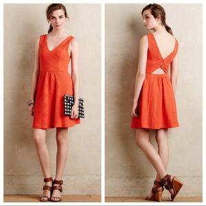 Anthropologie Maeve Orange Textured Deep V Dress