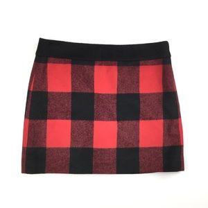 J. Crew Red & Black Wool Buffalo Plaid Mini Skirt