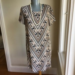 WAYF Brown, Black and Cream Shift Size S Dress.