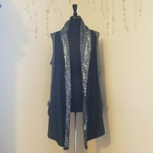 JUICY COUTURE Charcoal Sequin Duster Vest L