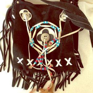 Handbags - Genuine suede Native American-style crossbody bag