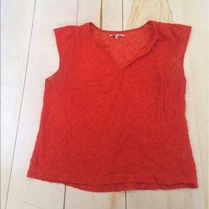 Madewell orange sheet short-sleeved blouse