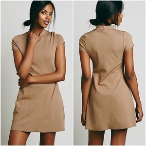 FP Beach Brown Ponte Mock Neck Fit Flare Dress