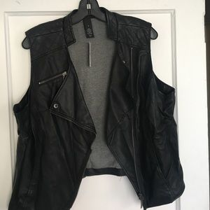 Lane Bryant Black Faux Leather Vest
