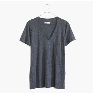 • Madewell • Whisper Cotton V Neck Tee Indigo XS