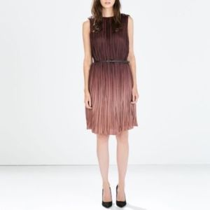 ZARA Burgundy Ombre Pleated Sleeveless Dress