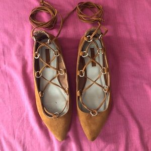 Chestnut laced up flats
