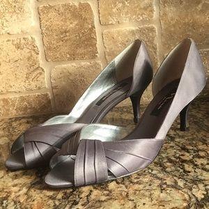Nina open toe pumps-slate grey satin