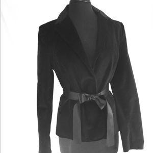 Black Velveteen GAP jacket with satin belt