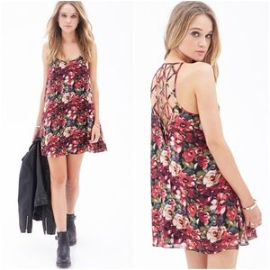 Forever 21 Red Floral Mini Dress Lattice Back