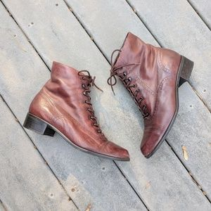 Vintage Brown Leather Lace Up Ankle Boots