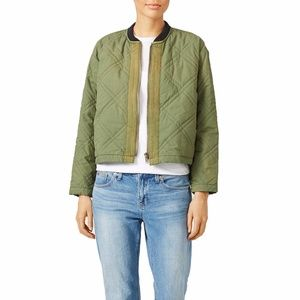 BNWT Free People Green Quilted Bomber Jacket