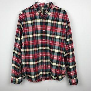 [J. Crew] Oxford Plaid Shirt Holiday Red Men's L