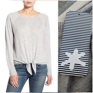 Splendid Tie Front Gray Sweater Knit Top