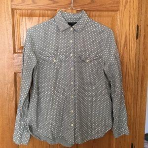 J.Crew flannel grey polka dot button down.
