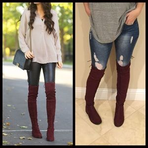 Shoes - JUST IN‼️ Over the Knee Burgundy Boots