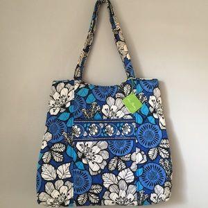 Vera Bradley Blue Floral Quilted Large Tote Bag