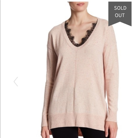 59% off Topshop Tops - Pale Pink V Neck Sweater with Lace Trim ...