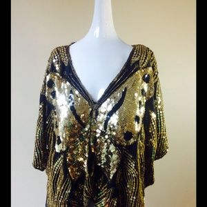 Vintage Black Gold Butterfly Sequin Top Shirt