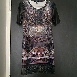 Dresses & Skirts - Pleather sleeve graphic mini dress