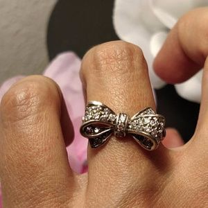 Jewelry - Sterling Silver CZ Bow Ring Burlesque Boho Size 7