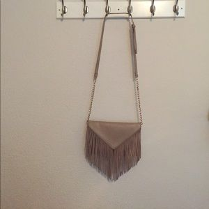 Handbags - Taupe fringe handbag