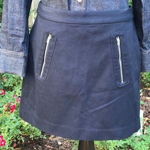 GAP Navy Blue Exposed Zipper Detail Skirt