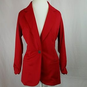 Style & Co Red Unlined Rusched Sleeve Blazer