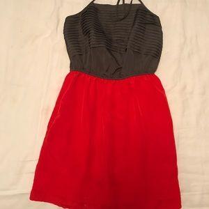 Halter grey and red/orange dress