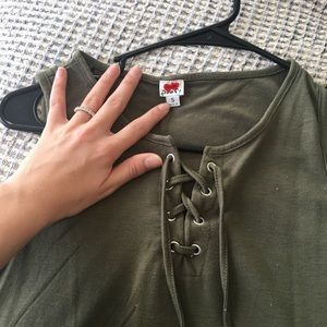 Army Green lace-up dress!
