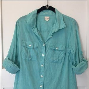 Blue and coral J.crew button up