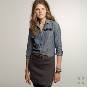 J. Crew Boy Shirt in Embellished Chambray Size 10