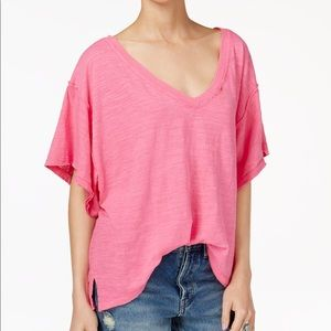 NWT Free People Distressed Pink V-Neck Tee XS S