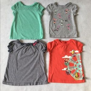 Lot of 4 baby girls short sleeve shirts 18M