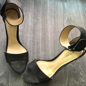 Bebe glitter high heel buckle strap sandals