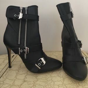Moto-inspired leather boots. *brand new*