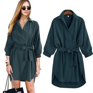 Green Shirt Dress With Tie