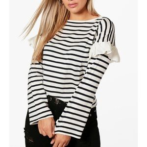 Boohoo Ruffle Striped Knitted Shirt