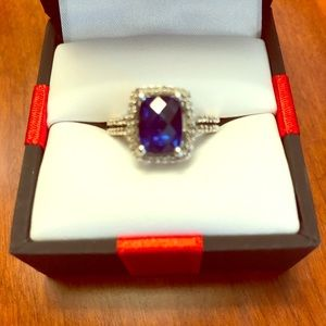 SS lab created sapphire ring