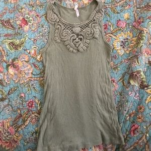 Sage green tank top with crochet detail