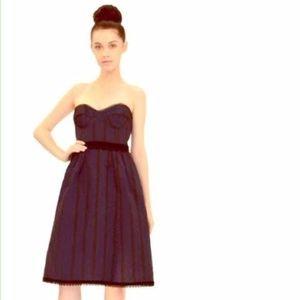 NANETTE LEPORE Striped Smitten Corset Silk Dress