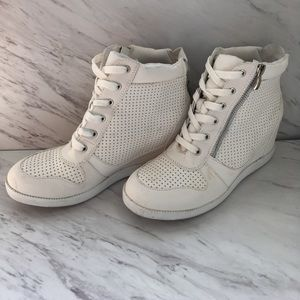 White high top wedges