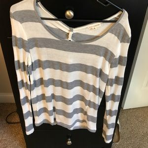 Grey and white striped long sleeve top