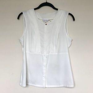 Calvin Klein White Sleeveless Blouse