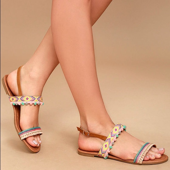 5a11963bc Lulu's Shoes   Nude Embroidered Pompom Flat Sandals   Poshmark
